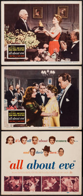 "All About Eve (20th Century Fox, 1950). Title Lobby Card (11"" X 14"") and Lobby Cards (2) (11"" X 14"")..."