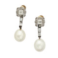 Estate Jewelry:Earrings, Cultured Pearl, Diamond, Platinum, Gold Earrings. ...