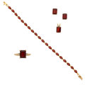 Estate Jewelry:Lots, Garnet, Gold Jewelry. ... (Total: 4 Items)