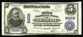 National Bank Notes:Missouri, Bethany, MO - $5 1902 Plain Back Fr. 599 The First NB Ch. # 8009. Acrackling fresh example with white paper, pen signat...