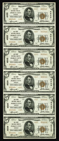 National Bank Notes:Missouri, Peirce City, MO - $5 1929 Ty. 2 The First NB Ch. # 4225 UncutSheet. A very nice uncut sheet with minimal handling for o...