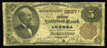National Bank Notes:Nebraska, Aurora, NE - $5 1882 Brown Back Fr. 466 The First NB Ch. # 2897. An extremely rare bank, with just four large notes list...