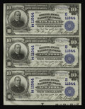 National Bank Notes:New York, New York, NY - $10 1902 Plain Back Fr. 633 Seventh Avenue NB Ch. # (E)11844. A lovely pen signed uncut strip of three, w...