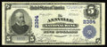 National Bank Notes:Pennsylvania, Annville, PA - $5 1902 Plain Back Fr. 606 The Annville NB Ch. #2384. This note is not found in the census of 7 Large fo...
