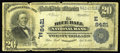 National Bank Notes:Pennsylvania, Blue Ball, PA - $20 1902 Plain Back Fr. 652 The Blue Ball NB Ch. #(E)8421. This is one of only three $20 1902 Plain Bac...