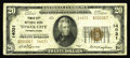 National Bank Notes:Pennsylvania, Tower City, PA - $20 1929 Ty. 2 Tower City NB Ch. # 14031. This 14000 series charter bank issued only the $20 Type 2, wi...