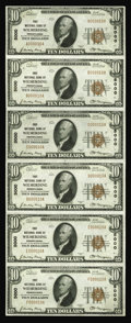 National Bank Notes:Pennsylvania, Wilmerding, PA - $10 1929 Ty. 1 First NB Ch. # 5000 Uncut Sheet. Amost attractive uncut sheet from this even charter nu...