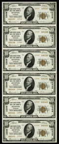 National Bank Notes:Tennessee, Memphis, TN - $10 1929 Ty. 2 Union Planters NB & TC Uncut Sheet Ch. # 13349. A lovely uncut sheet without even the hint ...
