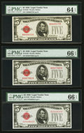 Small Size:Legal Tender Notes, Fr. 1525 $5 1928 Legal Tender Notes. Three Examples. PMG Graded. . ... (Total: 3 notes)
