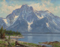 Fine Art - Painting, American:Contemporary   (1950 to present)  , JIM WILCOX (American, b. 1941). Mountain Lake. Oil oncanvasboard. 12 x 15-3/4 inches (30.5 x 40.0 cm). Signed lowerrig...