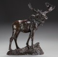 Fine Art - Sculpture, American:Antique (Pre 1900), HENRY MERWIN SHRADY (American, 1871-1922). Bull Moose, circa1900. Bronze with brown patina. 20-1/4 inches (51.4 cm) hig...