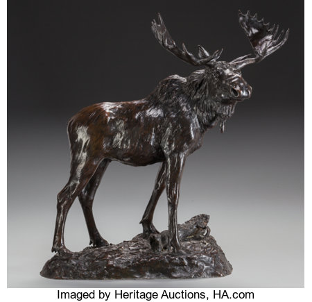 HENRY MERWIN SHRADY (American, 1871-1922)Bull Moose, circa 1900Bronze with brown patina20-1/4 inches (51.4 cm) hig...