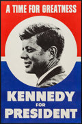 "Movie Posters:Documentary, John F. Kennedy for President (1960). Campaign Poster (18.5"" X28.25"") ""A Time for Greatness."" Miscellaneous.. ..."