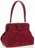 Luxury Accessories:Bags, Michelle Hatch Burgundy Satin Top Handle Bag. ...