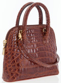 Luxury Accessories:Bags, Siso Brown Crocodile Tote Bag. ...