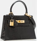 Luxury Accessories:Bags, Lederer Black Crocodile Top Handle Bag. ...