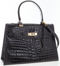 Luxury Accessories:Bags, Firenze Black Crocodile Top Handle Bag. ...