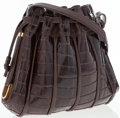 "Luxury Accessories:Bags, Menes Friers Brown Alligator Shoulder Bag. Good to Very GoodCondition. 9"" Width x 9.5"" Height x 1.5"" Depth, 19"" Shoulder..."