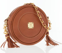 MCM Light Brown Leather Crossboday Bag with Gold Chain Strap