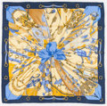 "Luxury Accessories:Accessories, Hermes 90cm Blue & Gold ""Soleil de Soie,"" by Caty Latham SilkScarf. ..."