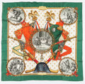 "Luxury Accessories:Accessories, Hermes 90cm Green & Red ""Napoleon,"" by Phillippe Ledoux SilkScarf. ..."