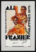 """Movie Posters:Sports, Ali vs. Frazier, The """"Thrilla in Manila"""" (Don King Productions, 1975). Framed Autographed Closed Circuit Showing Window Card..."""