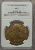 Colombia, Colombia: Ferdinand VII gold 8 Escudos 1811/0 NR-JF AU55 NGC,...