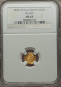 California Fractional Gold , 1872 50C Indian Octagonal 50 Cents, BG-939, Low R.5, MS65 NGC. NGCCensus: (0/2). PCGS Population (2/1)....