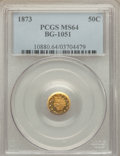 California Fractional Gold: , 1873 50C Indian Round 50 Cents, BG-1051, Low R.5, MS64 PCGS. PCGSPopulation (4/3). NGC Census: (1/0). ...