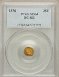 California Fractional Gold: , 1876 25C Indian Round 25 Cents, BG-882, R.7, MS64 PCGS. PCGSPopulation (2/4). NGC Census: (0/1). ...