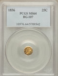 California Fractional Gold: , 1856 25C Liberty Octagonal 25 Cents, BG-107, Low R.4, MS64 PCGS.PCGS Population (24/6). NGC Census: (11/3). ...