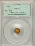 California Fractional Gold: , 1875 25C Indian Round 25 Cents, BG-878, R.3, MS65 PCGS. PCGSPopulation (17/2). NGC Census: (2/0). ...