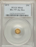 California Fractional Gold , 1875 25C Indian Octagonal 25 Cents, BG-797, Low R.4, MS66 PCGS. Ex:Jay Roe. PCGS Population (2/0). ...