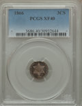 Three Cent Silver: , 1866 3CS XF40 PCGS. PCGS Population (3/83). NGC Census: (0/80). Mintage: 22,000. Numismedia Wsl. Price for problem free NGC...