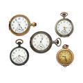Timepieces:Pocket (post 1900), A Lot Of Five Pocket Watch For Parts Or Repair. ... (Total: 5Items)