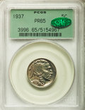 Proof Buffalo Nickels: , 1937 5C PR65 PCGS. CAC. PCGS Population (624/1270). NGC Census:(405/858). Mintage: 5,769. Numismedia Wsl. Price for proble...