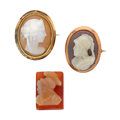 Estate Jewelry:Cameos, Lot of Hardstone, Shell, Gold Cameos. ... (Total: 3 Items)