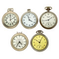Timepieces:Other , Three Westclox, Ingersoll & Bull's Eye Watches. ... (Total: 5 Items)