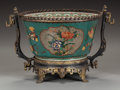 Asian:Chinese, A CHINESE CLOISONNÉ AND PORCELAIN BOWL WITH GILT AND PATINATEDBRONZE MOUNTS, Qing dynasty. Marks: (chop marks under retaile...
