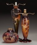 Glass, THREE GALLE OVERLAY GLASS LAMP BASES, circa 1900. 20-1/2 inches high (52.1 cm) (tallest). ... (Total: 3 Items)