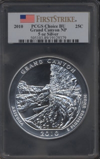 2010 25C Grand Canyon Five Ounce Silver, First Strike Choice BU PCGS....(PCGS# 505103)