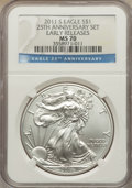 Modern Bullion Coins, 2011-S $1 Silver Eagle, 25th Anniversary, Early Releases MS70 NGC. NGC Census: (18277). PCGS Population (8203)....