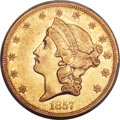 Liberty Double Eagles, 1857-O $20 AU50 PCGS. Variety 1....