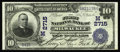 National Bank Notes:Wisconsin, Milwaukee, WI - $10 1902 Date Back Fr. 616 The First NB Ch. # (M)2715. Charter number embossing, dark signatures, and ni...