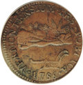 Colonials: , 1786 COPPER Vermont Copper, VERMONTENSIUM--Environmental Damage--NCS. AU Details. RR-8, Bressett 6-E, Low R.4. By a small m...