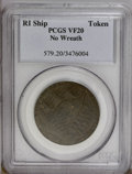 Colonials: , 1778-1779 TOKEN Rhode Island Ship Token, No Wreath, Copper VF20PCGS. Breen-1139, Betts-562. The olive and chocolate-brown ...