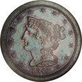 Proof Braided Hair Half Cents: , 1841 1/2 C Original PR65 Brown NGC. B-1, R.6. Die State III.Recognized as an original striking by the large berries on the...