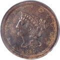 Proof Braided Hair Half Cents: , 1841 1/2 C Original PR64 Red and Brown PCGS. Breen 1-A, R.6. Die State III. The die crack that passes through stars 3, 4, 5...