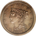 Proof Braided Hair Half Cents: , 1850 1/2 C PR62 Brown PCGS. B-1, C-1. Low R.7. Although theoriginal mintage figure of this proof issue is unknown, Walter ...