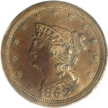 Proof Braided Hair Half Cents: , 1852 1/2 C First Restrike. SR-12, B-2, R.5. PR63 Brown NGC. Largedate; Small berries, doubled T in CENT. A sharply struck...